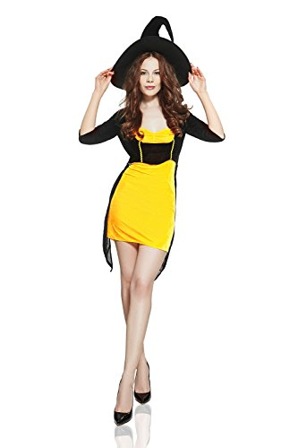 Adult Women Playful Witch Costume Sorceress Halloween Cosplay Role Play Dress Up (Small/Medium, Black, Orange)