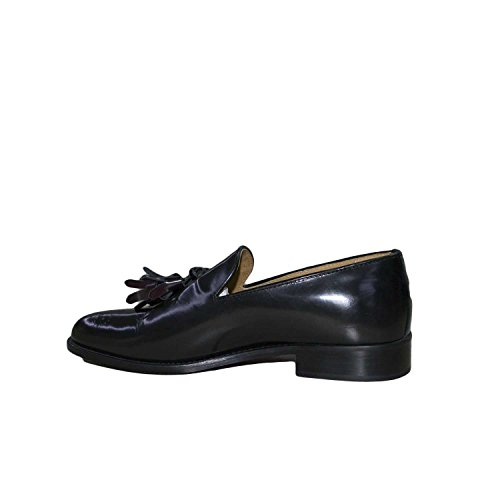 Mocassino College nera pelle lucida abrasivata nappe fondo cuoio antiscivolo nero genuine leather made in italy linea man glamour