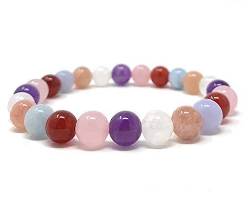 Aquamarine Fertility Amethyst Carnelian Sunstone Moonstone Rose Quartz Stretch Power Bead Healing Gemstone Bracelet Pregnancy /& Childbirth Bracelet Blue Lace Agate Gift Box and Tag