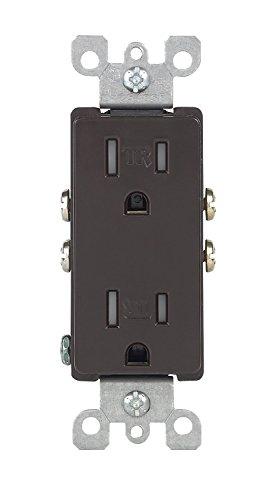 Leviton T5325 2 Pack 15Amp 125V Tamper Resistant Decora Duplex Receptacle, - Plug Resistant Tamper