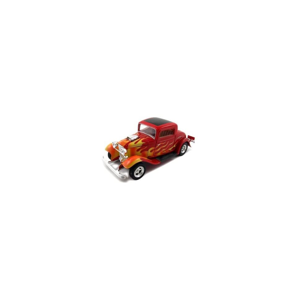 1932 Ford Coupe American Graffiti Diecast Car Model 1/24 Red With Flames by Motormax