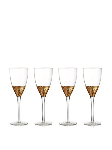 Fitz and Floyd Daphne Red Wine Glasses (Set of 4), Gold