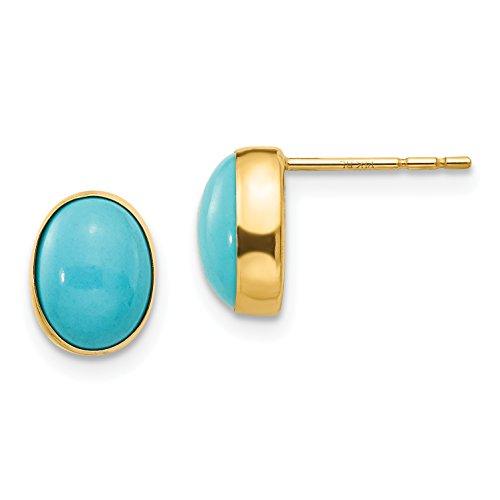 14k Gold Oval Cut Stud - 14k Yellow Gold Bezel Set Oval Turquoise Stud Earrings