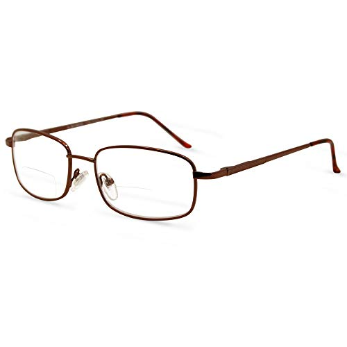 14c22e2788 In Style Eyes Enda Middle Bifocal Reading Glasses Brown 2.50