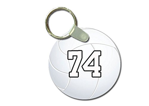 Molten Lite Volleyball - TYD Designs Key Chain Sports Volleyball Customizable 2 Inch Metal and Fully Assembled Ring with Any Team Jersey Player Number 74