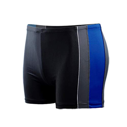 Men's Short Swim Trunks Quick Dry Beach Stripe Running Swimming Watershort Swimsuit – Solid Square Leg, Endurance (5XL, Blue)