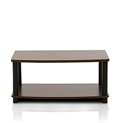 FURINNO 13191GYW/BK Turn-N-Tube No Tools 2-Tier Elevated TV Stands