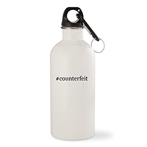#counterfeit - White Hashtag 20oz Stainless Steel Water Bottle with Carabiner (Counterfeit Rolex)