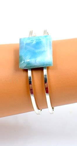 Something Blue Larimar Bangle Dolphin Gemstone Bracelet Ocean Lovers