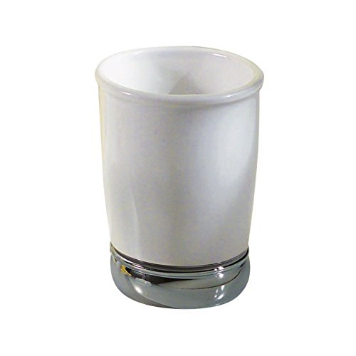 InterDesign York Bath Collection, Tumbler Cup for Bathroom Vanity Countertops - (Porcelain White Accessories)