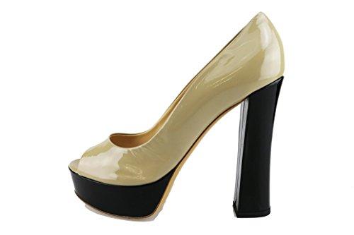 AG604 GATTO US Patent Black Beige DEL Leather 40 Sandals 10 EU Woman wPd7CAq