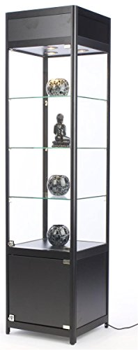 72 Inch Glass Display Cabinet with 3 Adjustable Tempered Glass Shelves and 3 Halogen Top Lights