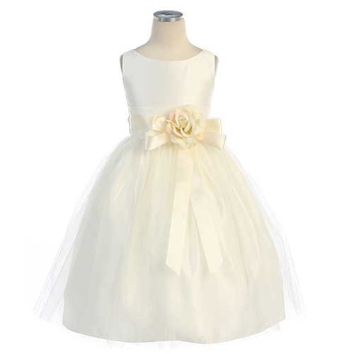 - Sweet kids Girls Vintage Satin Tulle Special Occasion  Flower- 10 - Ivory