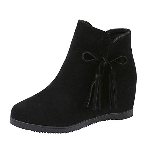 Dacawin Vintage Women Casual Shoes Suede Wedges Zipper Tassel Ankle Boots Martin Boots Booties