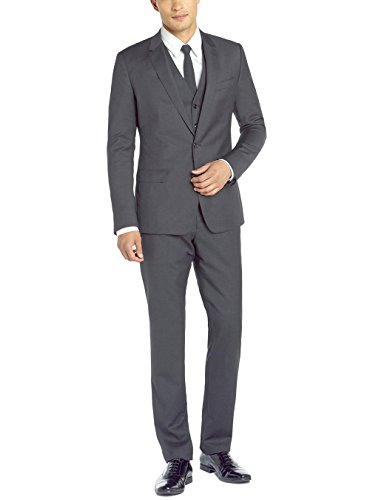 Gino Valentino Men's Two Button Jacket 3 Piece Flat Front Pants Vested Charcoal Suit (46 Regular US / 56 Regular EU)