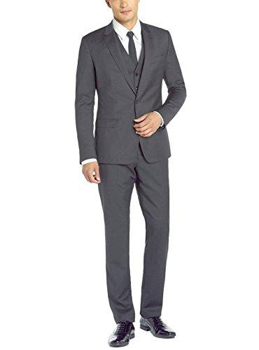 DTI GV Executive Italian Vested Men's Suit Wool 2 Button Jacket 3 Piece Tux Vest (44 Regular US / 54R EU/W 38