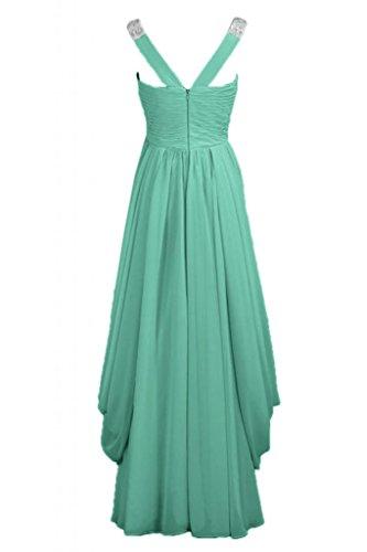 a vestito elegante d'onore Verde Chiffon V damigella da da lunga sera abito Hunter scollo in Sunvary dtwq0Bt