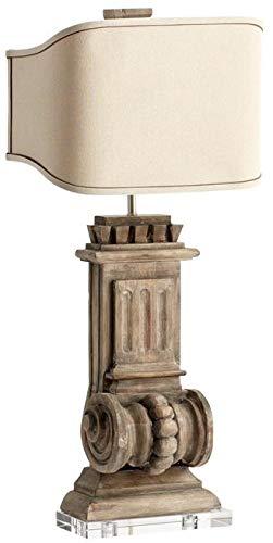 - Cyan Design Table Lamp LOFT 2-Light Limed Gracewood Raw Cotton Shade New