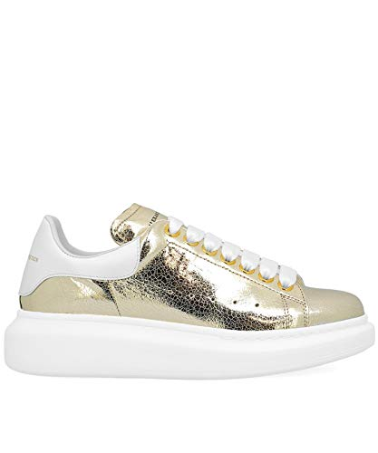Alexander McQueen Women's 462214Whsq18062 Gold Leather Sneakers