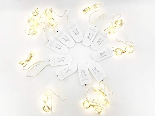 Jaruis Button Electronic Box String Light Christmas Family Party DIY Bar Decoration LED Fairy Starry String Lights 10pcs/Box(Warm light-10pcs) by Jaruis