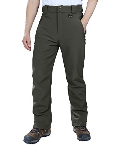 (Outdoor Ventures Men's Lite Waterproof Windproof Fleece Lined Warm Hiking Ski Snow Pants Expandable-Waist Grey)