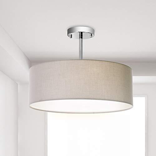 Ceiling Light, Semi-Flush Mount Modern Fabric Pendant Light Shade, Large Grey Drum Lampshade, Round Pendant Lamp, for Bedroom Living Room, Flush Chrome Matt, 3 ()