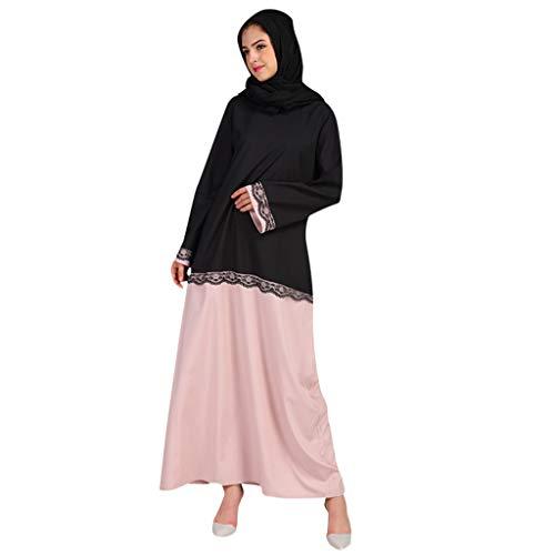 KIKOY Womens Muslim Summer Print Trumpet Sleeve Embroidery Elegant Swing Dress ()