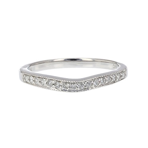 0.18 ctw Contour Milgrain Diamond Wedding Band in 14K White Gold
