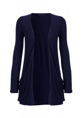 Hot Hanger Ladies Plus Size Pocket Long Sleeve Cardigan 16-26 (24-26 XXXL, Navy)