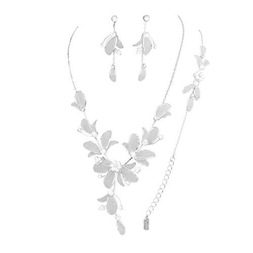 (Rosemarie Collections Women's Floral Statement Necklace Bracelet Earring Jewelry Set (Clear) )