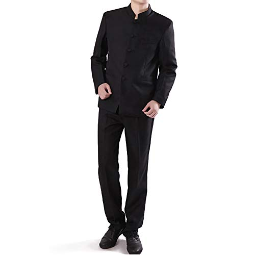 Positive Costume Chinese Tunic Suits Mandarin Collar Formal Suit Slim Fit Front Button Japanese School Uniform Groom Dress (Black, Asian L=US Medium)