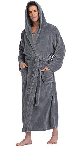 Men's Hooded Robe Long Plush Fleece Bathrobe Soft Spa Robe, Grey, L/XL -
