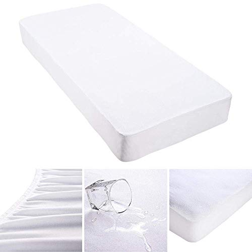 Mattress Protector King Size Waterproof Cotton Terry Hypoallergenic Machine-Washable Vinyl Free Anti Mite Dust Fitted Sheet Style Design (Ikea King Size Memory Foam Mattress Topper)