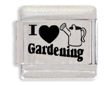 I Love Gardening Laser Italian Charm Bracelet Link