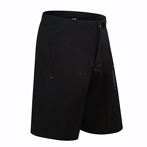 Bonglata Mens Baggy MTB Mountain Bike Shorts with Removeable Biking Bicycle Cycling Padded Liner Short Black (Black, Waist 38-40