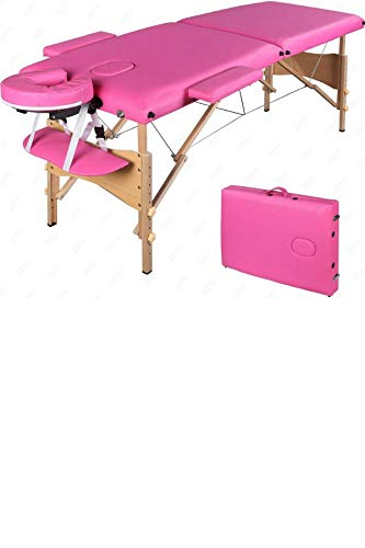 Comfort Adjustable Portable Facial Pink Massage Table 84 Inches Long – 2 Fold Hardwood Frame with Carry Case – SPA Beauty Tattoo Salon PU Leather Bed – Plus Gift eBook