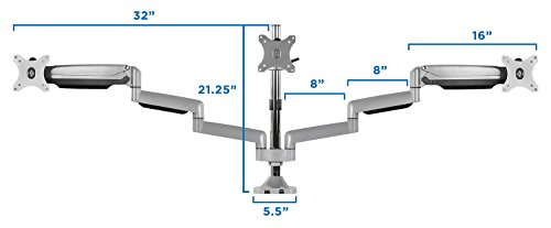 Mount-It! Triple Monitor Mount with USB Port, Height Adjustable 3 Monitor Arm Desk Stand for 24 27 30 32 Inch LED LCD Displays (MI-2753) Photo #2