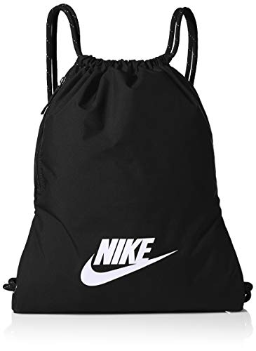 NIKE Heritage Gym Sack - 2.0, Black/Black/White, Misc