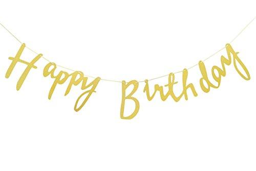 Happy Birthday Bunting Banner Birthday Party Birthday Decoration Supplies (Gold)