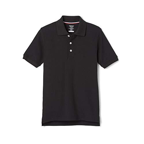 French Toast Boys' Big Short Sleeve Pique Polo Shirt (Standard & Husky), Black, XXL (18/20)