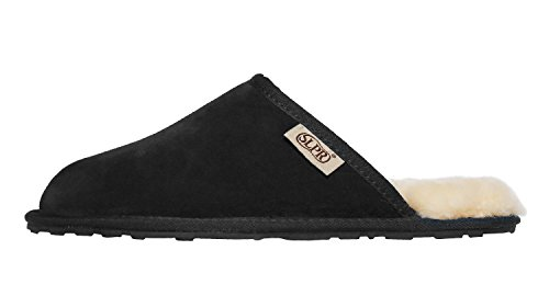 SLPR Mens Sheepskin Summit Slipper Black KXB3We0