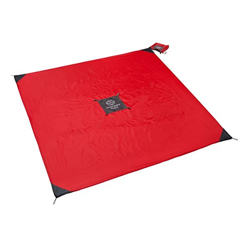 (Monkey Mat - Original Mat | Lightweight Water/Sand Repellent Picnic Travel Blanket with Corner Weights - 5' x 5' (Red Coral Crush))