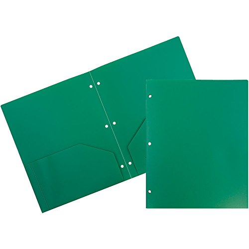 avy Duty 3 Hole Punch 2 Pocket School Presentation Folders - Green - 108/pack ()