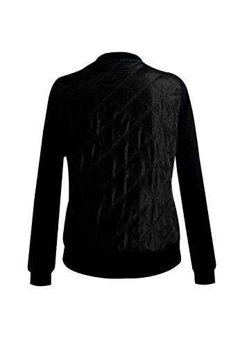 Lunghe Collare Elegante Chiudi Blazer Le Maniche Baseball In Autunno Inverno Giubbotto Felpe Black Caldo axwqC5w1