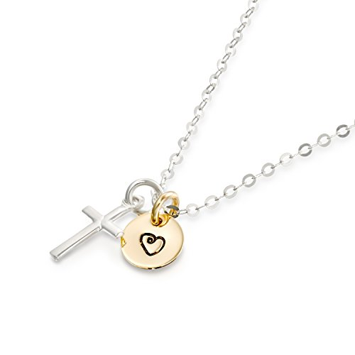 - Two Tone Heart and Cross Charm Necklace Hand Engraved 8 mm Disc & Dainty Cross Pendant, 16