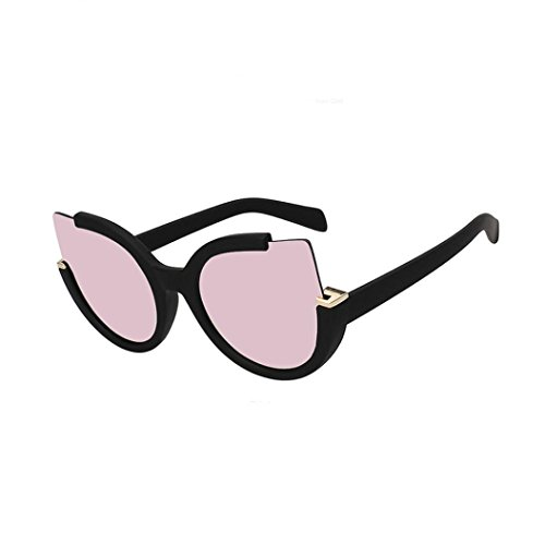 QingFan Women Aviator Cat Eye Clear Lens Glasses Metal Spectacle Frame Myopia Sunglasses (Pink, - Face Round Spectacle Frames For