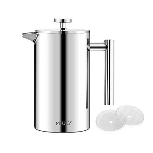 Miuly – Cafetera de émbolo French Press, 0,35 litros, pequeña, de acero inoxidable, prensa francesa con 2 coladores…