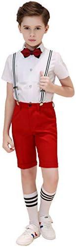 男の子の Short Suspender スーツ ボーイズスーツ4ピーススリムフィッ,サスペンダー、ズボン、シャツ、ボウタイ