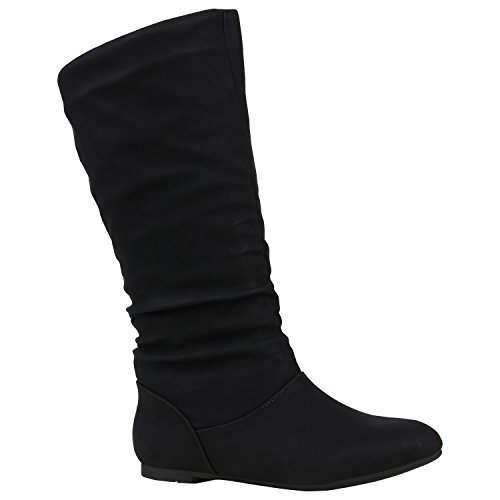 Stiefelparadies Warm Gefütterte Stiefel Damen Winterstiefel Damen Boots Schnallen Profilsohle Schuhe Kunstfell Winterschuhe Flandell Schwarz Brito