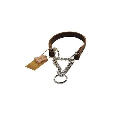 Dean and Tyler ''LEATHER MARTINGALE'', Dog Choke Collar with Chrome Plated Steel Chain - Brown - Size 26-Inch by 3/4-Inch - Fits Neck 24-Inch to 26-Inch